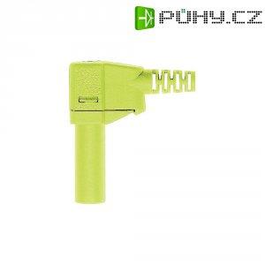 Lamelový konektor Ø 4 mm MultiContact 22.2667-20, zástrčka úhlová, zelenožlutá
