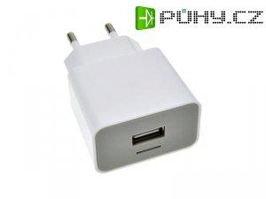USB nabíjecí adaptér, 1x USB, 1500mA, AC 230V, bílošedý DC36 SOLIGHT