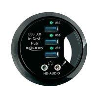 Stolní USB 3.0 hub Delock, 3-portový + HD-Audio porty