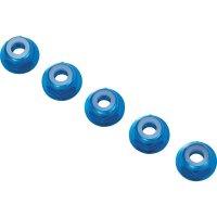 Hliníková samojistící matice M4 s límcem, 10 ks, modrá
