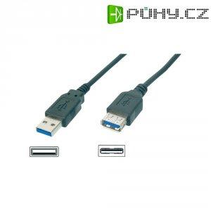 Kabel USB 3.0, vidlice A ⇔ zásuvka A, 3 m, černý
