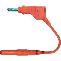 Měřicí kabel banánek 4 mm ⇔ banánek 4 mm MultiContact XZG410-L, 1 m, červená