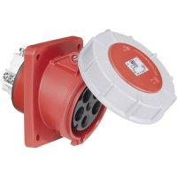 CEE zásuvka Twist 435-6 PCE, šikmá, 63 A, IP67, červená/šedá