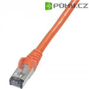 Patch kabel, CAT 6 S/FTP, RJ45, vidlice ⇔ vidlice, červená, 0,5 m