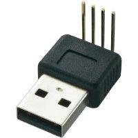 USB konektor s DPS montáží Typ A 90°, zástrčka zahnutá