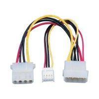 Napájecí kabel, 1x IDE zástrčka 4pól., floppy zástrčka 4pól.⇔1x IDE zásuvka 4pól., 0,15 m
