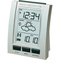 DCF budík s předpovědí počasí Techno Line WT 293, 78 x 100 x 42 mm, stříbrná