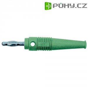 Lamelový konektor Ø 4 mm MultiContact 64.9199-25, zástrčka rovná, zelená