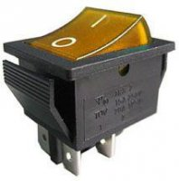 Přepínač kolébkový OFF-ON 2pol.250V/15A žlutý