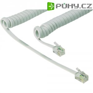 Spirálový kabel zástrčka RJ10 4p4c ⇔ zástrčka RJ10 4p4c, 2 m, bílá