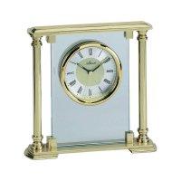 Analogové stolní hodiny, 3028, 18,5 x 17,5 cm, kov, zlatá
