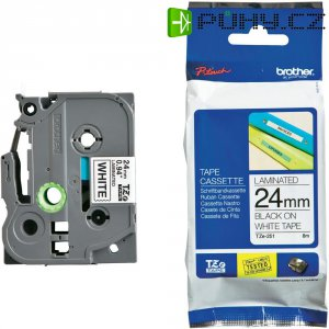 Páska do štítkovače Brother TZ-251, 24 mm, TZe, TZ, 8 m, černá/bílá