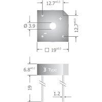 Křemíkový můstkový usměrňovač Diotec KBPC808, U(RRM) 800 V, 8 A, Plast