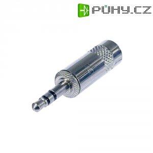 Jack konektor 3,5 mm stereo Rean AV NYS231L, zástrčka rovná, 3pól., stříbrná