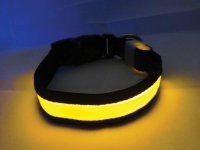 Svítící a blikající obojek pro psy, pásek pro chodce a cyklisty, žlutý S