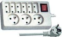 Prodlužovací přívod 3m-3x 3pól+6x 2pól.+vypínač
