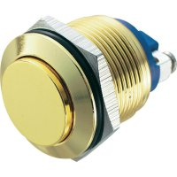 Tlačítko antivandal bez aretace TRU COMPONENTS GQ 19H-G, 48 V/DC, 2 A, mosaz, 1x vyp/(zap)