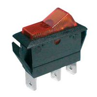 Přepínač kolébkový 2pol./3pin ON-OFF 20A/12VDC pros. žlutý