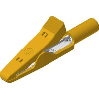 Měřicí krokosvorka Hirschmann MA 1 S, mosaz s nerez pružinou, 2 mm, žlutá