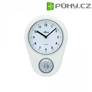 Analogové kuchyňské nástěnné hodiny s časovačem, 6121/0, 16 x 22,5 cm, bílá