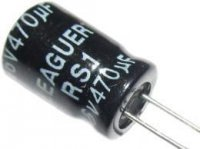 470u/16V 105° 8x12x3,5mm, elektrolyt.kondenzátor radiální