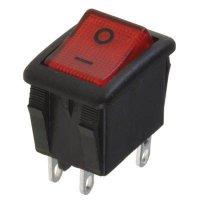 Vypínač kolébkový OFF-ON 2pol.250V/10A červený OMEGA I3913