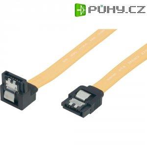 Kabel SATA II (300), 1x konektor přímý/1x konektor 90 °, žlutý, 0,5 m