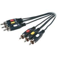 Spojovací kabel Speaka, 3x cinch zástrčka ⇔ 3x cinch zástrčka, černá, 2 m