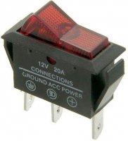 Vypínač kolébkový OFF-ON 1pol.12V/20A červený