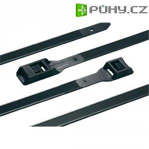 Stahovací pásek s plochou hlavou HellermannTyton PE180-HSW-BK-C1, 180 x 9 mm, černá