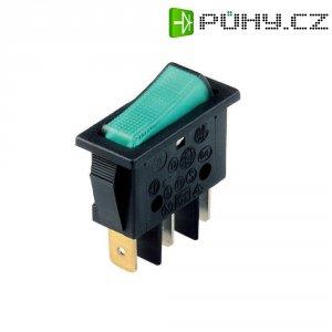 Osvětlený kolébkový spínač B116C1E00000, 1x vyp/zap, 250 V/AC, 16 A, zelená/černá