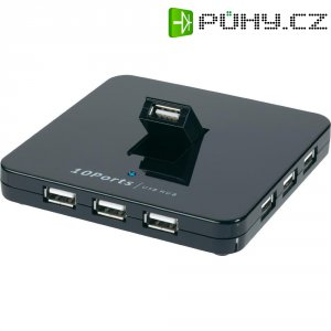 USB 2.0 Hub se síťovým adaptérem, 10-portový