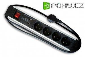 HBF prodlužovací kabel 1,5 m se 3 zásuvkami, 2 USB porty a vypínačem - černá/šedá barva