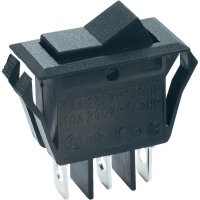 Kolébkový spínač SCI R13-72C-01 s aretací 250 V/AC, 10 A, 1x zap/zap, černá, 1 ks