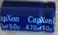 470u/50V 85° 13x21x5mm, elektrolyt kondenzátor radiální