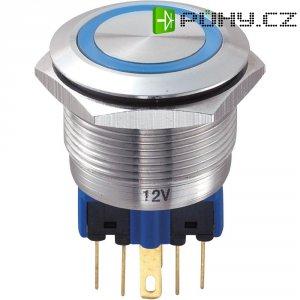 Tlačítko antivandal bez aretace TRU COMPONENTS GQ22-11E/B/12V, 250 V/AC, 5 A, nerezová ocel, 1x zap/(zap), modrá