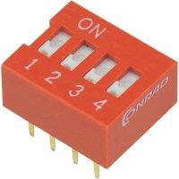 DIP spínač DSR-04, 9,9 x 5,7 mm, 4pól.
