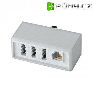 TAE adaptér, TAE-NFF zásuvka, RJ11 zásuvka 6p4c ⇔ TAE-F zástrčka, bílá