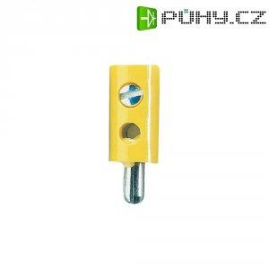 Miniaturní banánkový konektor, PVC, Ø: 2,6 mm, zástrčka rovná, žlutá
