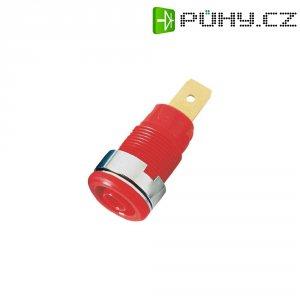 Laboratorní zásuvka MultiContact SLB 4-F6,3 (23.3060-22), vestavná vertikální, Ø 4 mm, červená