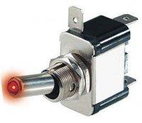 Přepínač páčkový ON-OFF 1pol.12V/20A červená LED