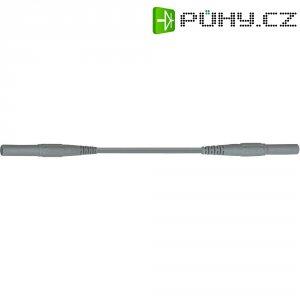 Měřicí kabel banánek 4 mm ⇔ banánek 4 mm MultiContact XMF-419, 0,5 m, šedá