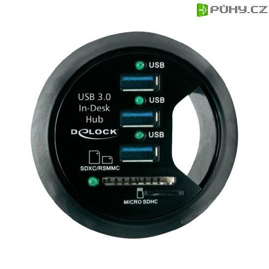 Stolní USB 3.0 hub Delock, 3-portový + 2 sloty SD karty - Kliknutím na obrázek zavřete