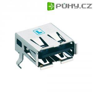 USB konektor 2.0 vestavný do DPS Lumberg 2410 06, zásuvka Typ A