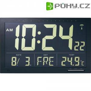 Digitální nástěnné DCF hodiny s vnitřní teplotou Jumbo, 368 x 229 x 30 mm, černá