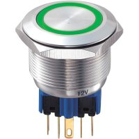 Tlačítko antivandal bez aretace TRU COMPONENTS GQ25-11E/G/12V, 250 V/AC, 5 A, nerezová ocel, 1x zap/(zap), zelená