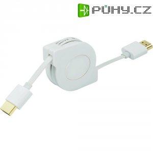 Rolovací kabel High Speed HDMI zástrčka/zástrčka s ethernetem, bílý, 1 m