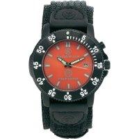 Ručičkové náramkové hodinky S&W, 76043, hasičské, nylonový pásek, černá/červená