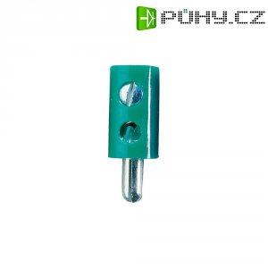 Miniaturní banánkový konektor, PVC, Ø: 2,6 mm, zástrčka rovná, zelená