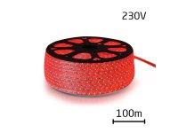 LED pásek 230V, 3528 60LED/m IP67 max. 4.8W/m červená (cívka 100m) zalitý
